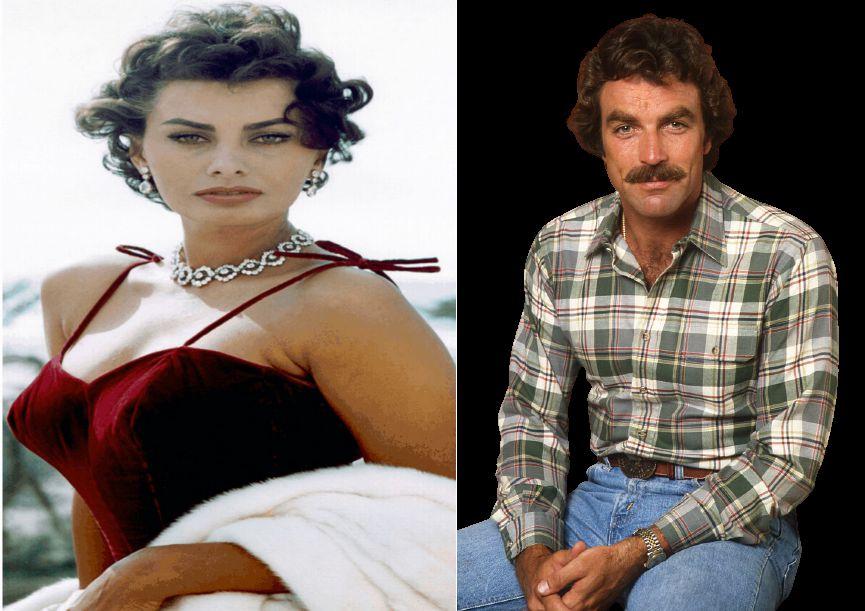 Tom Selleck -Sophia Loren